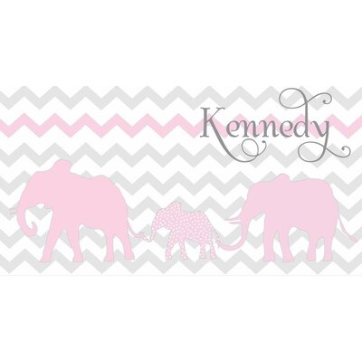 Alphabet Garden Designs Personalized Elephant Chevron Safari Canvas Wall Art