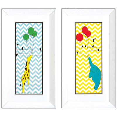 2 Piece Elephant Giraffe Wall Art Set
