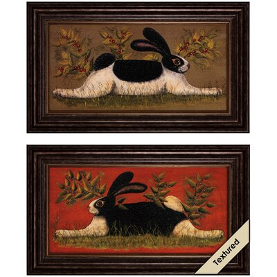 Folk Bunny 2 Piece Framed Graphic Art Set