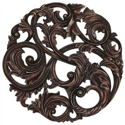 Aged Copper Leaf Swirl Wall Plaque