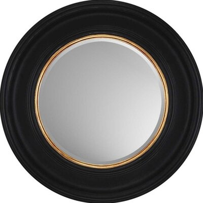 Round Black with Gold Contemporary Wall Mirror