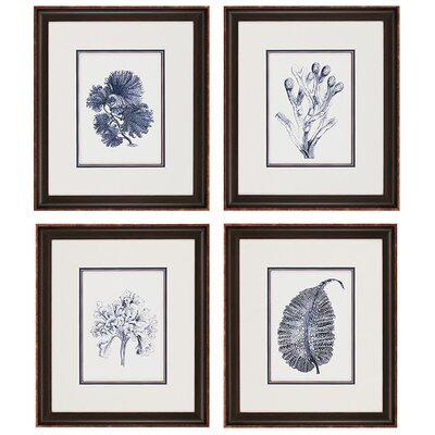 "Indigo Kelp by Unknown Waterfront Art - 21"" x 18"" (Set of 4)"