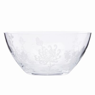 Marchesa by Lenox Painted Camellia Frosted Crystal Bowl