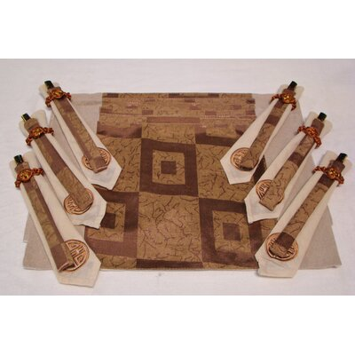Poly Silk Jacquard Placemat in Golden Square (Set of 6)