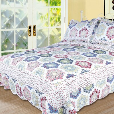 Textiles Plus Inc. Kaleidoscope 3 Piece Full/Queen Quilt Set