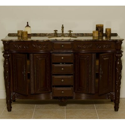 "Global Treasures Manchester 62"" Single Bathroom Vanity in Mahogany"
