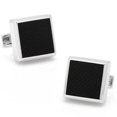 Cufflinks Inc. Sterling Silver Onyx Etched Cufflinks