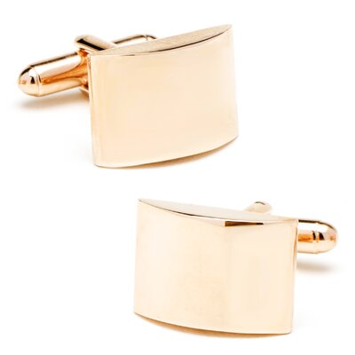 Rose Gold Plated Curved Cufflinks with Personalization