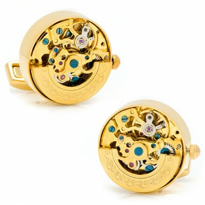 Cufflinks Inc. Gold Plated Kinetic Watch Movement Cufflinks