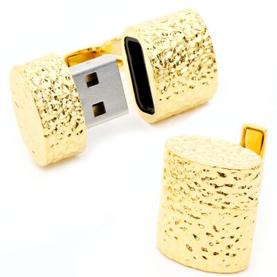 Hammered Gold Oval USB Cufflinks (4GB)
