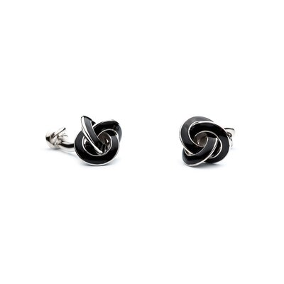 Ox and Bull Double Ended Black Enamel Knot Cufflinks
