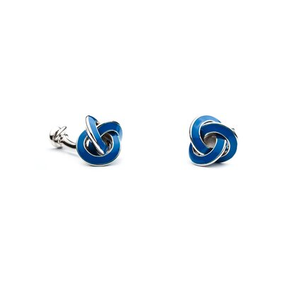 Ox and Bull Double Ended Blue Enamel Knot Cufflinks