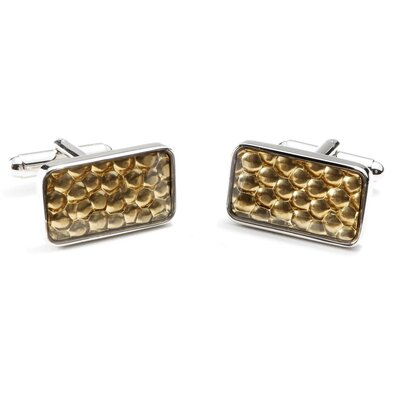 Ox and Bull Gold Pebble Rectangle Cufflinks