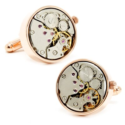 "Penny Black 40 0.79"" Rose Gold Watch Movement Cufflinks"