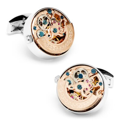 Penny Black 40 Stainless Steel Kinetic Watch Movement Cufflinks