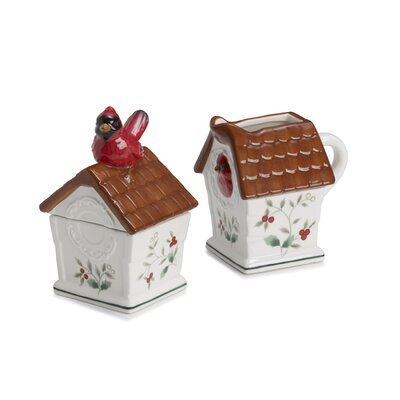 Pfaltzgraff Winterberry Cardinal Sugar and Creamer Set