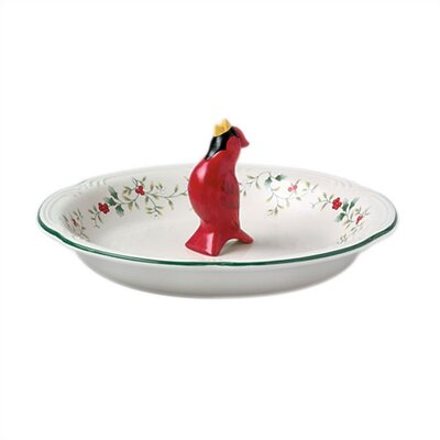 Winterberry Pie Plate with Cardinal Pie Bird