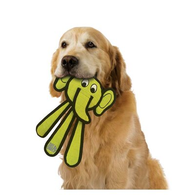 Tuff Enuff Dangles Elephant Dog Toy in Green