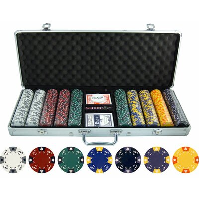 JP Commerce 500 Piece Ace King Tricolor Clay Poker Chip Set