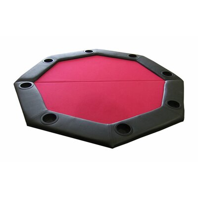 JP Commerce Padded Octagon Folding Poker Table Top with Cup Holders in Red