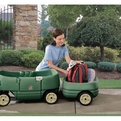 Step2 Tag-Along Trailer Plus in Willow Green