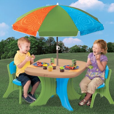 Step2 Play and Shade Kids Patio Table and Chair Set