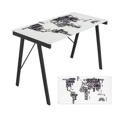 LumiSource World Map Office Writing Desk