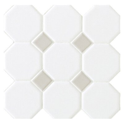 "Octagon and Dot 12"" x 12"" Mosaic in Matte White with Gray Gloss Dot"