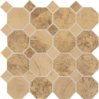 Aspen Lodge Octagon Dot Mosaic Field Tile in Golden Ridge