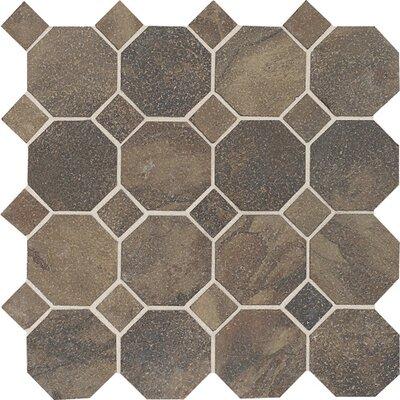 Aspen Lodge Octagon Dot Mosaic Field Tile in Midnight Blaze
