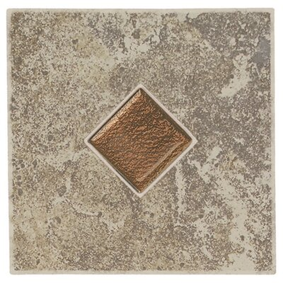 "Daltile Castle De Verre 6 1/2"" x 6 1/2"" Decorative Accent Tile in Grey Stone"