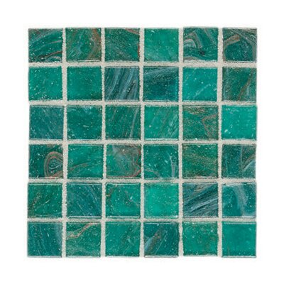 "Daltile Elemental Glass 12"" x 12"" Mosaic Tile in Blue Lagoon"