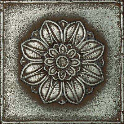 "Daltile Metal Signatures Rosette Rounded 4-1/4"" x 4-1/4"" Decorative Tile in Aged Iron"
