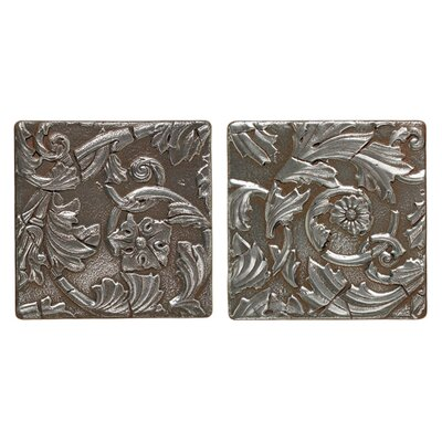 "Daltile Metal Signatures Acanthus Tumbled Stone 6"" x 6"" Decorative Tile in Aged Iron"