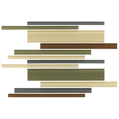 "Daltile Glass Reflections 15-1/2"" x 11-1/2"" Glossy Random Interlocking Accent Blend in Urban Camouflage"