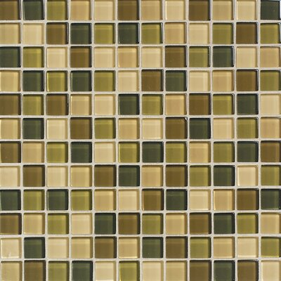 "Daltile Maracas Glass 12"" x 12"" Glossy Mosaic Blend Tile in Rainforest"