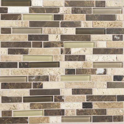"Daltile Stone Radiance 12"" x 12"" Random Mosaic Tile Blend in Morning Sun / Tortoise / Mushroom"