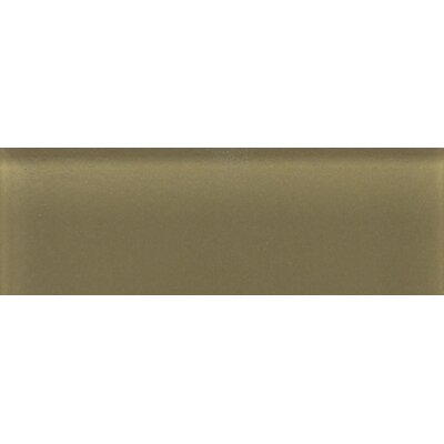 "Daltile Glass Reflections 4-1/4"" x 12-3/4"" Frosted Wall Tile in Olive Oil"