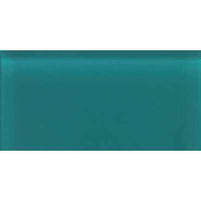 "Daltile Glass Reflections 4-1/4"" x 8-1/2"" Frosted Wall Tile in Almost Aqua"