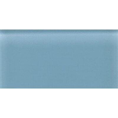 "Daltile Glass Reflections 8-1/2"" x 17"" Frosted Wall Tile in Blue Lagoon"