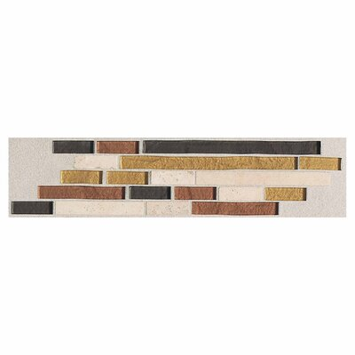 "Daltile Innova 14"" x 3"" Decorative Random Brick Border in Autumn Metallic"