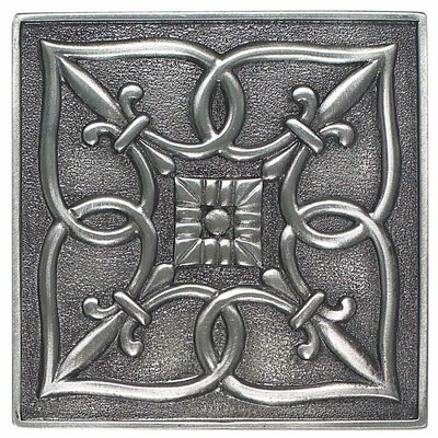 "Daltile Massalia 4"" x 4"" Decorative Fleur De Lis Accent in Pewter"
