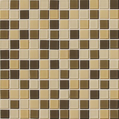 "Daltile Isis 12"" x 12"" Glass Mosaic Tile in Cream Blend"