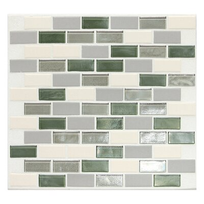 "Daltile Keystones Blends 12"" x 12"" Brick - Joint Porcelain with Oceanside Glass Mosaic Tile in Caribbean Palm"
