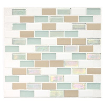 "Daltile Keystones Blends 2"" x 1"" Porcelain with Oceanside Glass Mosaic Tile in Trade Wind"