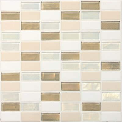 "Daltile Keystones Blends 2"" x 1"" Porcelain with Oceanside Glass Mosaic Tile in Coconut Beach"