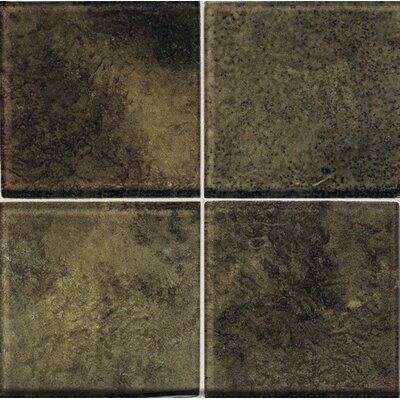 "Daltile Molten Glass 4 1/4"" x 4 1/4"" Multi-Colored Wall Tile in Everglade"