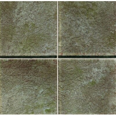 "Daltile Molten Glass 4 1/4"" x 4 1/4"" Multi-Colored Wall Tile in Moss"