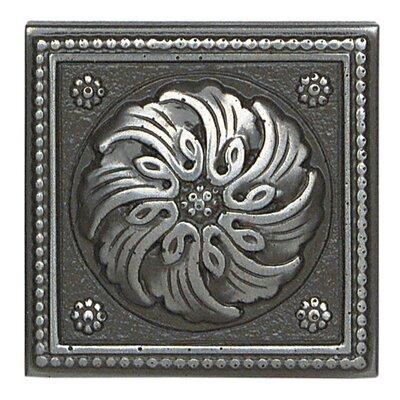 """Daltile Metal Ages 2"""" x 2"""" Celtic Glazed Decorative Tile Insert in Polished Pewter"""