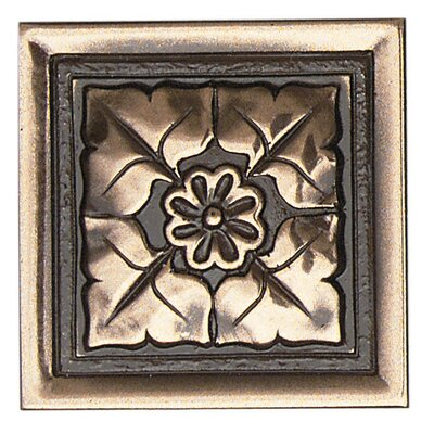 "Daltile Metal Ages 2"" x 2"" Romanesque Glazed Decorative Tile Insert in Polished Bronze"